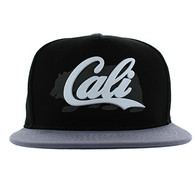 SM647 California Bear Cotton Snapback Cap Hat (Black & Grey)