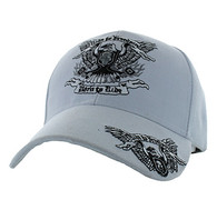VM271 Ride to Freedom, Born to Ride Velcro Cap (Solid White)