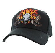 VM505 Skull Baseball Velcro Hat Cap (Solid Black)