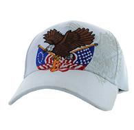 VM284 American USA Eagle Velcro Cap (Solid White)