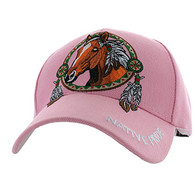 VM445 Native Pride Horse Velcro Cap (Solid Light Pink)