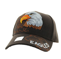 VM129 American USA Eagle Velcro Cap (Solid Brown)