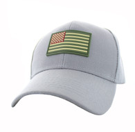 VM706 USA Flag Baseball Velcro Hat Cap (Solid Light Grey)
