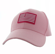 VM706 USA Flag Baseball Velcro Hat Cap (Solid Light Pink)