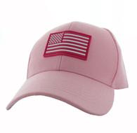 VM706 USA Flag Baseball Velcro Hat Cap (Solid Light Pink)