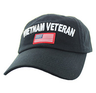 BM701 Vietnam Veteran Cotton Baseball Velcro Cap (Solid Black)