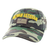 BM701 Vietnam Veteran Cotton Baseball Velcro Cap (Solid Military Camo)