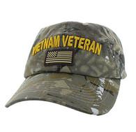 BM701 Vietnam Veteran Cotton Baseball Velcro Cap (Solid Hunting Camo)