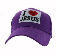 VM641 I Love Jesus Velcro Cap (Solid Purple)