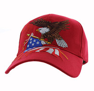 VM040 American USA Eagle Velcro Cap (Solid Red)