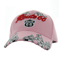 VM256 Route 66 Road Racing Flags Velcro Cap (Solid Light Pink)