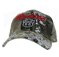 VM256 Route 66 Road Racing Flags Velcro Cap (Solid Hunting Camo)