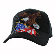VM040 American USA Eagle Velcro Cap (Solid Black)