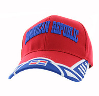 VM421 Dominican Republic Country Velcro Cap (Red & Royal Blue)