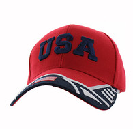 VM421 American USA Country Velcro Cap (Red & Black)