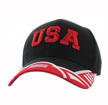 VM421 American USA Country Velcro Cap (Black   Red) - Ace Cap 6fd33d523cd4