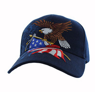 VM040 American USA Eagle Velcro Cap (Solid Navy)