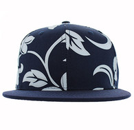 SP791 Blank Plain Snapback Cap Hat (Navy & Navy)