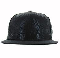 SP154 Blank Plain Snapback Cap Hat (Black & Black)