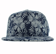 SP663 Blank Plain Snapback Cap Hat (Solid Navy Flower)