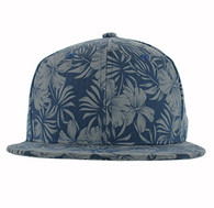 SP663 Blank Plain Snapback Cap Hat (Solid Sky Blue Flower)