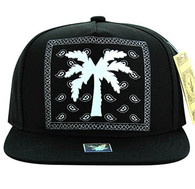 SM477 Palm Tree Snapback Cap (Black & Black)
