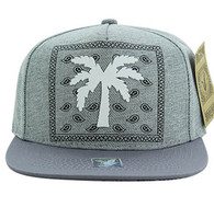 SM477 Palm Tree Snapback Cap (Light Grey & Light Grey)
