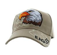 VM129 American USA Eagle Velcro Cap (Solid Khaki)