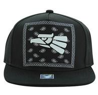 SM477 Mexico Eagle Snapback Cap (Black & Black)