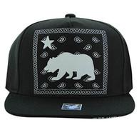 SM477 Cali Bear Snapback Cap (Black & Black)