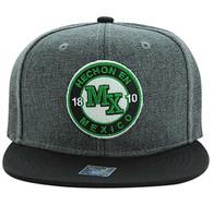 SM804 Mexico Snapback Hat Cap (Charcoal & Black)