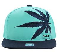 SM818 Marijuana Snapback Cap (Sky Blue & Navy)