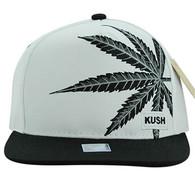 SM818 Marijuana Snapback Cap (White & Black)