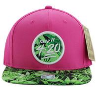 SM820 4:20 Snapback Cap (Pink & Print)
