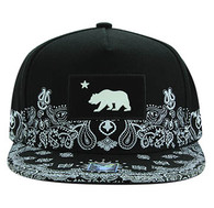 SM830 Cali Bear Snapback Cap (Black & Black)