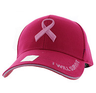 VM555 Breast Cancer Pink Ribbon Velcro Cap (Solid Hot Pink)