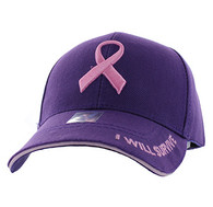 VM555 Breast Cancer Pink Ribbon Velcro Cap (Solid Purple)