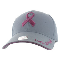 VM555 Breast Cancer Pink Ribbon Velcro Cap (Solid White)