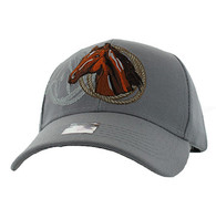 VM868 Horse & Rope Velcro Cap (Solid Light Grey)