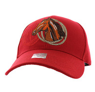 VM868 Horse & Rope Velcro Cap (Solid Red)