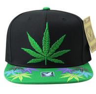 SM844 Marijuana Snapback Cap (Black & Kelly Green)