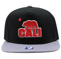 SM802 Cali Bear Snapback Cap (Black & Light Grey)