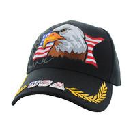VM140 American USA Eagle Velcro Cap (Solid Black)