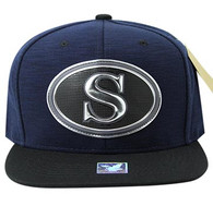 SM794 Seattle City Snapback Cap (Navy & Black)