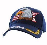 VM140 American USA Eagle Velcro Cap (Solid Navy)