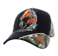 VM791 Native Pride Horse Velcro Cap (Black & Hunting Camo)