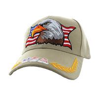 VM140 American USA Eagle Velcro Cap (Solid Khaki)
