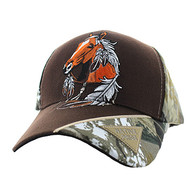 VM791 Native Pride Horse Velcro Cap (Brown & Hunting Camo)