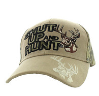 VM991 Shut Up and Hunt Velcro Cap (Khaki & Camo)