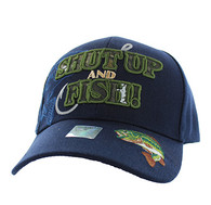 VM199 Shut Up and Fish Velcro Cap (Solid Navy)
